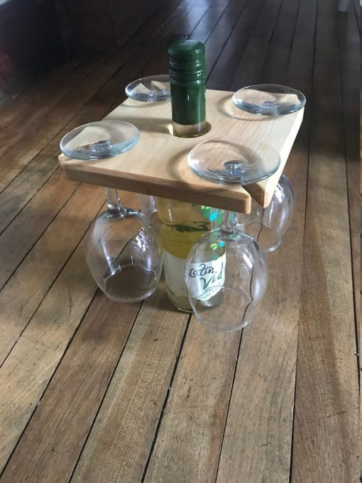 flat wooden staged wine and glass rack
