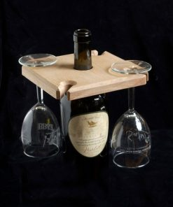 flat wooden staged wine and glassrack