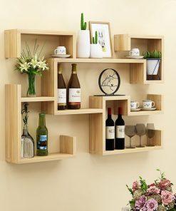 wall decor floating shelf white oak black