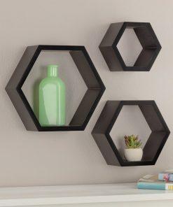 hexagon floating shelves 3 set black