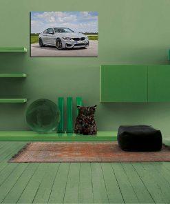 White BMW art wall display