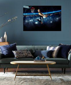 basketball men jump score shoot high wall picture frame