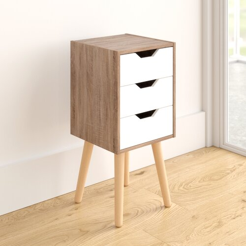 bedside cabinet 3 drawers white