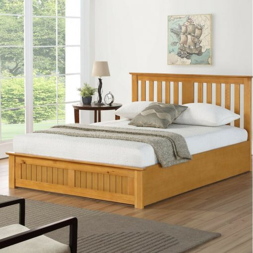 Traditional wood natural bed king size and queen size