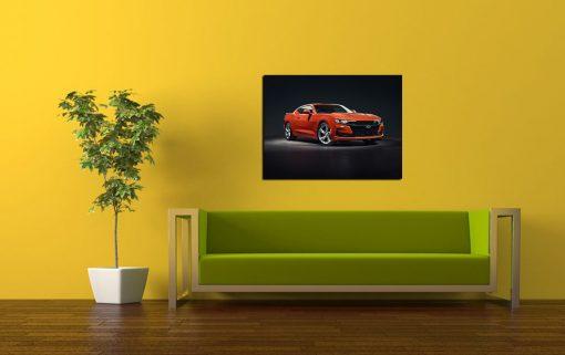 Orange chevrolet art wall disply