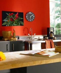 red pepper green leaves kitchen wall display