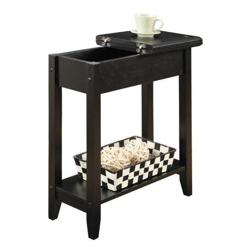 natural wood side table dark brown
