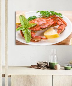 crab in plate kitchen wall art display
