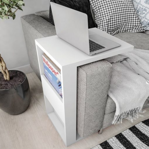 C shape side table console with hidden storage
