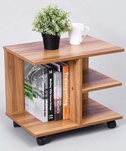 brown coffee side end table with shelves