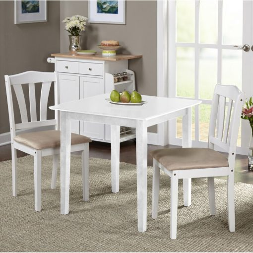 white dining table mini 2 chairs