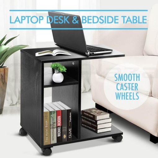 all black side table laptop