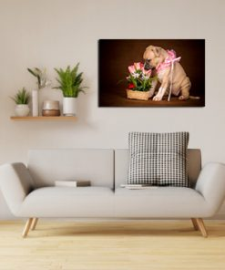 dogs tulips puppy art wall display