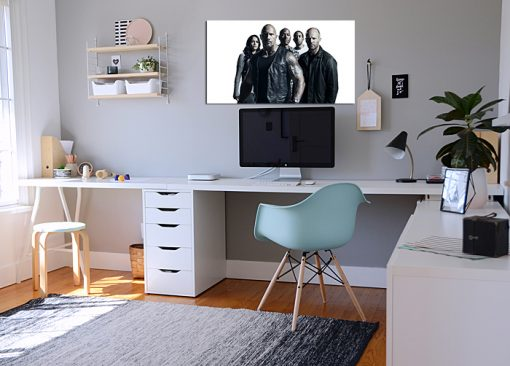 Fast-furious black and white image art wall display