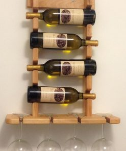 L shaped four is to four wooden wine and glass rack