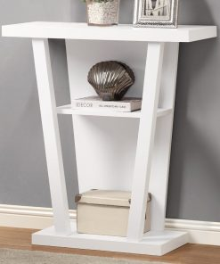 white hall way console side table
