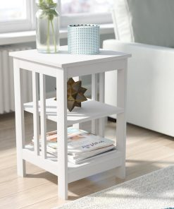 all white side table with 3 tiers