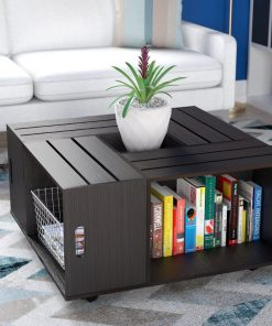 Black brown coffee table with storage
