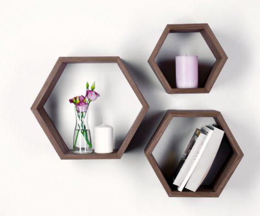 hexagon cube floating shelf wall decor