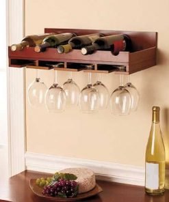 One staged demacated wooden wine and glass rack