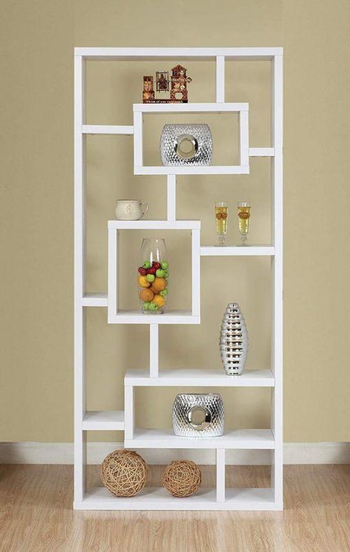 All white bookshelf