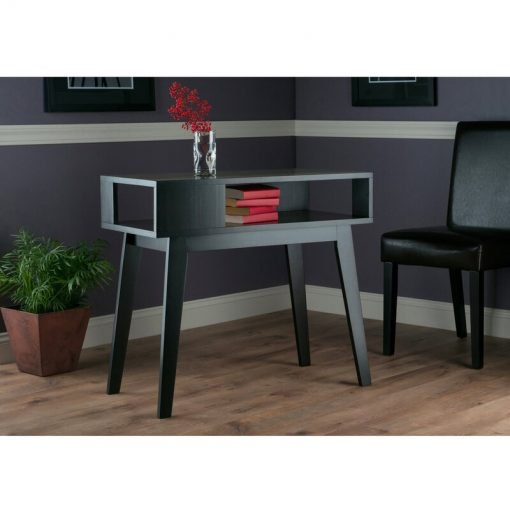wooden side table grey black with storage