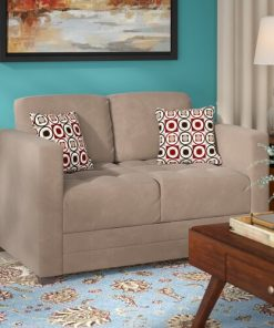brown material couch sofa 2 in 1