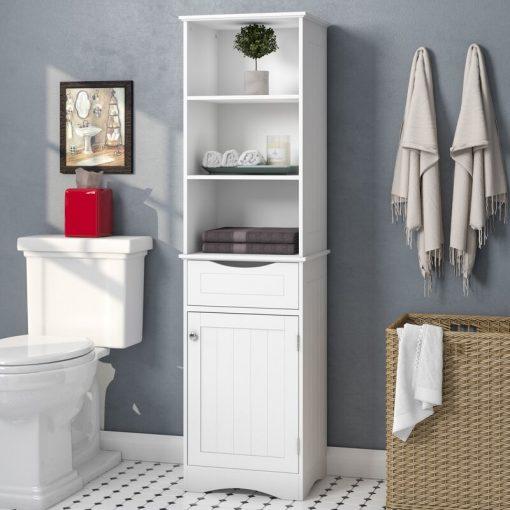 washroom storage cabinet white with shelves shelf