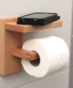 toilet paper holder with phone holder storage