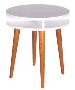 side table white brown round