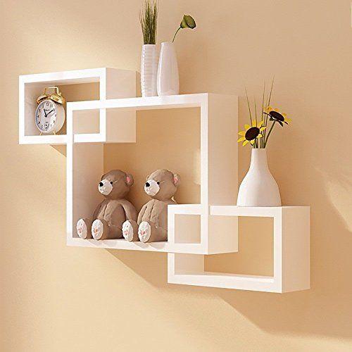 all white floating shelf wall decor