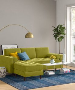 yellow cream couch gold