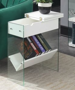 all white transparent floating side table 2020