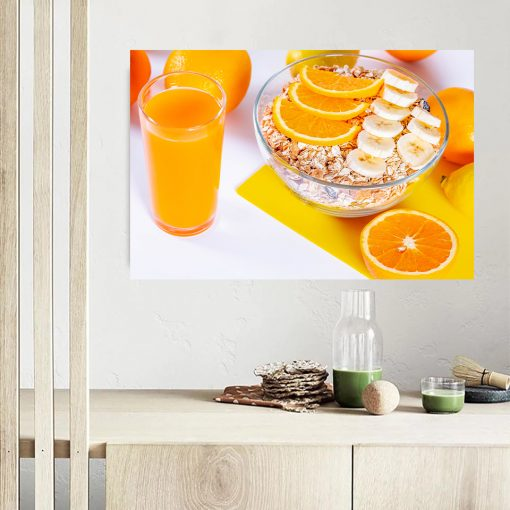 orange juice appetite wetter wall kitchen dining wall display