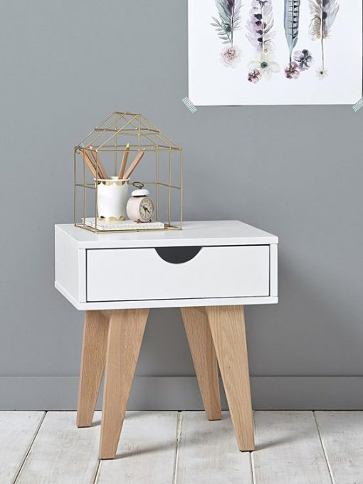 super cute side table white and grey with storage