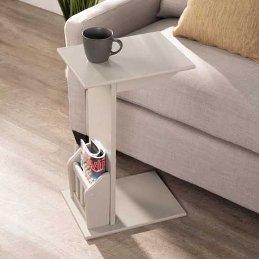 Cute White black brown side end table with storage