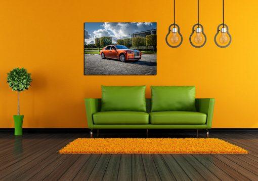 Orange roll-royce art wall display
