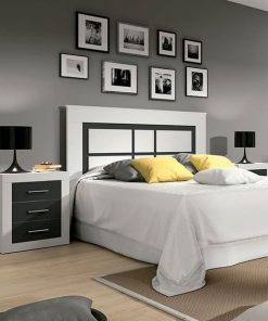 white and black queen size bed