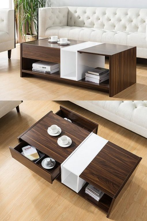 brown coffee table with drawers