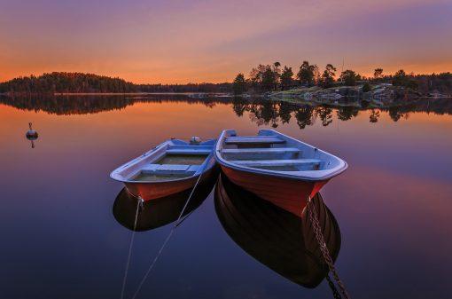 sunset sweden boats night sunset