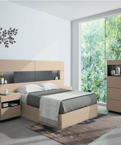Ultra modern bed sleek design with storage facility cabinets