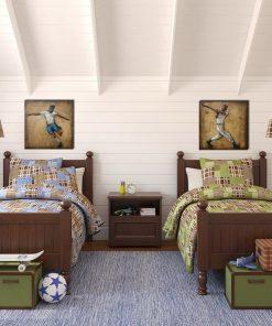 2 set kids bed natural wood