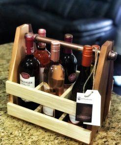 box natural wood handle wine rack