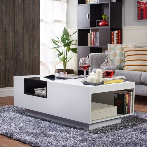 All white center table wuth hiddden storage