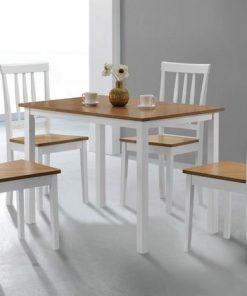 4 seater white dining seat set
