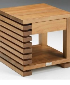 natural wood table side end console