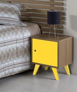 yellow bedside cabinet