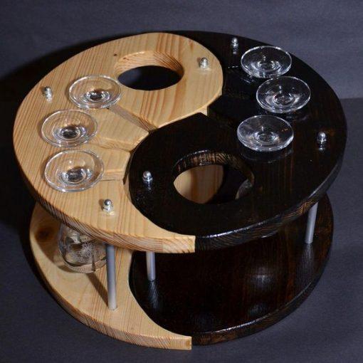 Portable Comma shaped brown black wine rack
