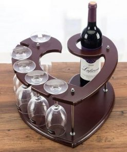Portable love shape brown wine rack