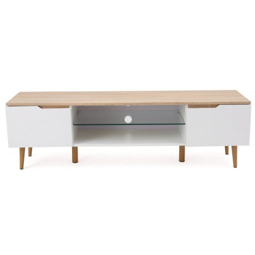 white and walnut brown tv stand